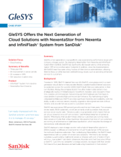 GleSYS Offers the Next Generation of Cloud Solutions with NexentaStor and InfiniFlash System IF100 from SanDisk